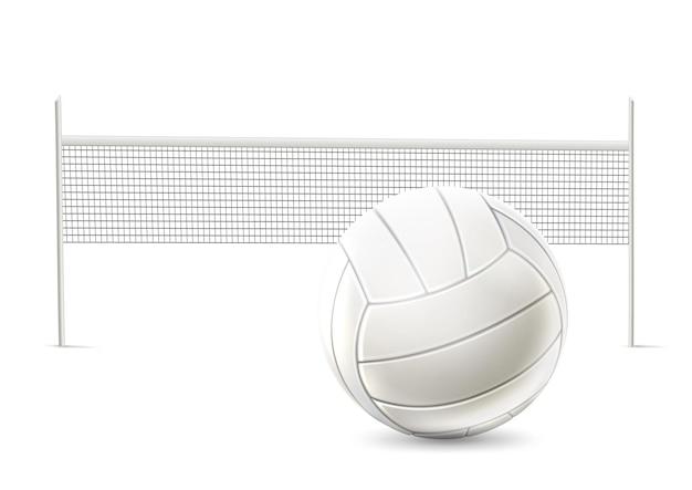Rete da pallavolo realistica con design da competizione con la palla