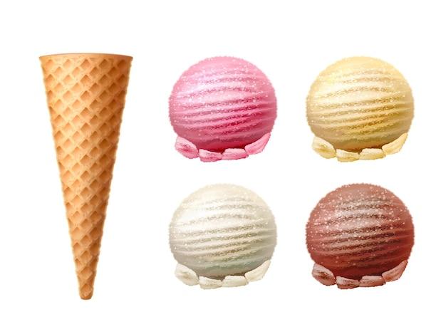 Cono di cialda realistico con cucchiaio di gelato gustoso spuntino di vettore con cioccolato alla vaniglia e fragola