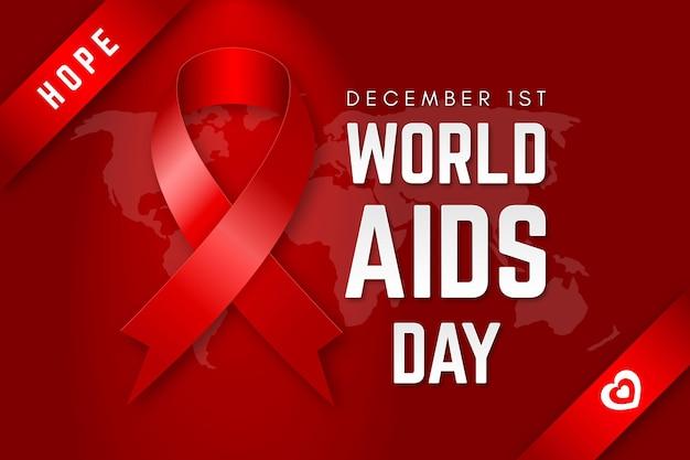 Carta da parati realistica con nastro del giorno dell'aids