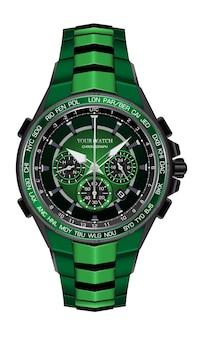 Orologio realistico orologio cronografo verde nero design in acciaio moda per gli uomini eleganza di lusso su sfondo bianco illustrazione.