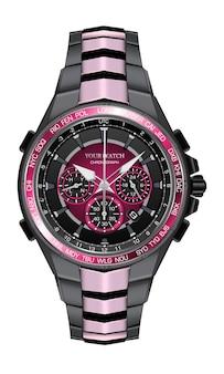 Realistico orologio orologio cronografo rosa nero design in acciaio moda per gli uomini eleganza di lusso su sfondo bianco illustrazione.