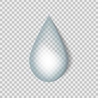 Goccia d'acqua realistica sullo sfondo trasparente.