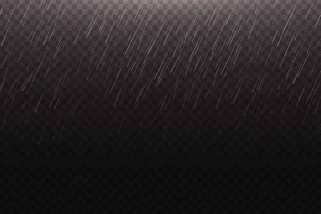 Pioggia d'acqua realistica sullo sfondo trasparente per la decorazione e il rivestimento.