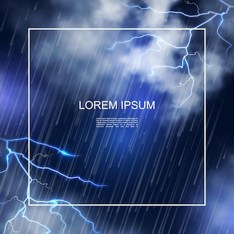 Manifesto realistico della tempesta di acqua con la struttura sull'illustrazione del fondo del cielo notturno