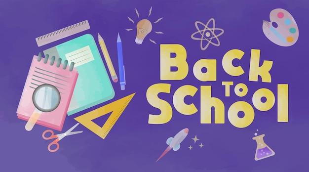 Disegno realistico ad acquerello di ritorno a scuola