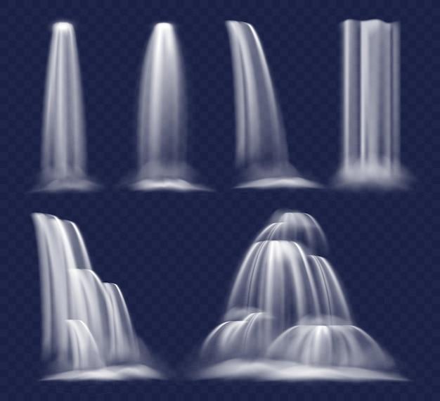 Cascata realistica, flusso di acqua limpida della cascata, che scorre e scorre a cascata con spruzzi