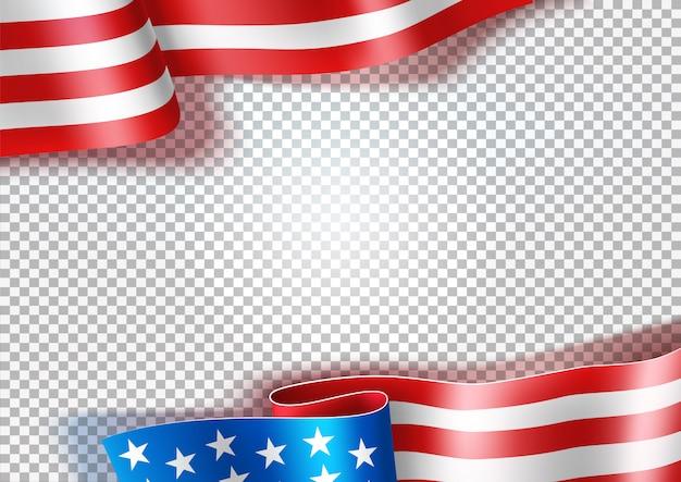 Bandiera americana sventolante realistico, sfondo simbolo usa