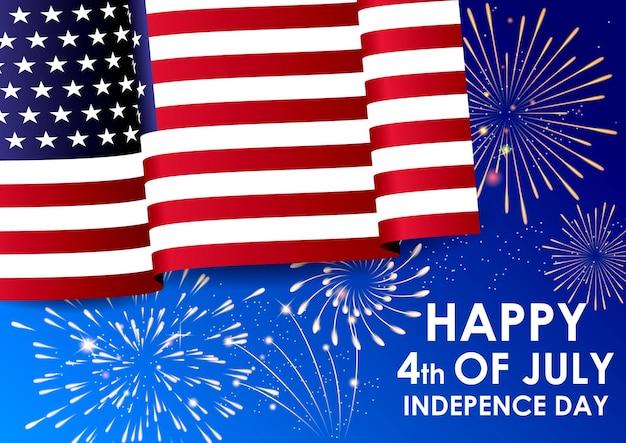 Bandiera nazionale americana d'ondeggiamento realistica con vettore di esplosione di fuochi d'artificio colorati eps