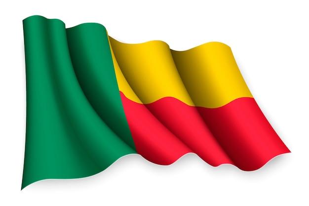 Bandiera sventolante realistica del benin