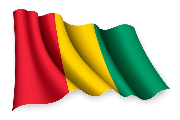 Bandiera sventolante realistica della guinea