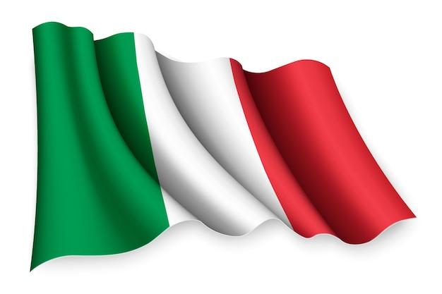 Bandiera sventolante realistico isolato su bianco