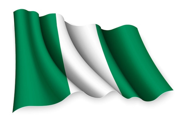 Bandiera sventolante realistica della nigeria