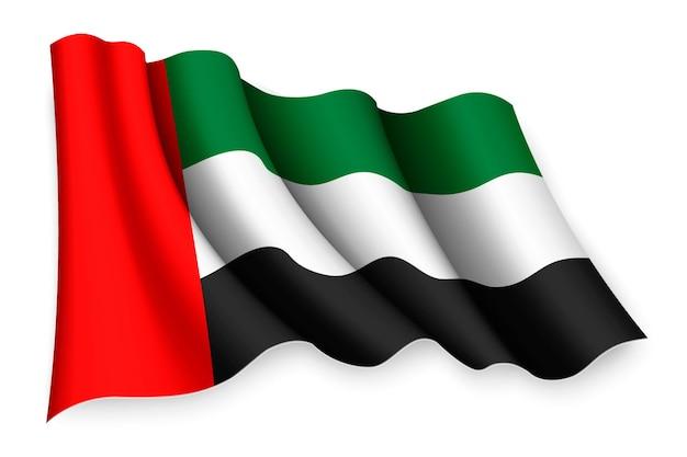 Bandiera sventolante realistica degli emirati arabi uniti
