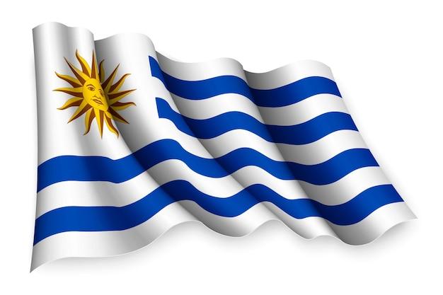 Bandiera sventolante realistica dell'uruguay