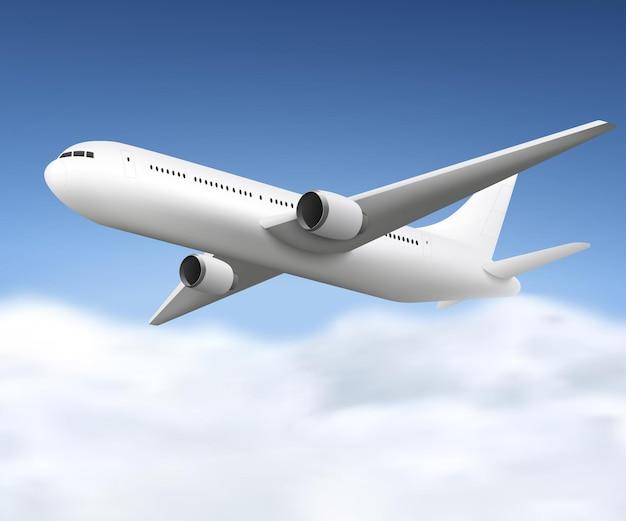 Realistico aeroplano bianco che vola nel cielo blu con nuvole, mockup 3d di aerei passeggeri jet visto dalla vista laterale, illustrazione di vettore del modello di disegno in bianco
