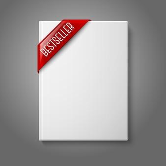 Illustrazione del libro con copertina rigida in bianco bianco realistico