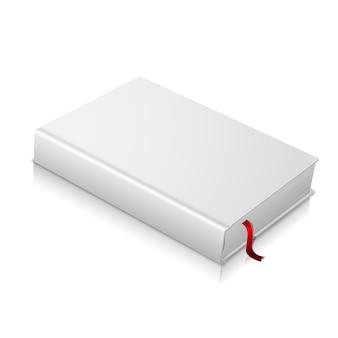 Libro con copertina rigida in bianco bianco realistico con segnalibro rosso. isolato