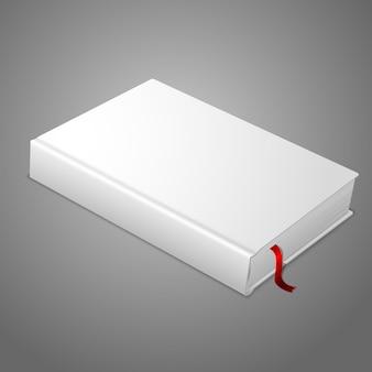 Libro con copertina rigida in bianco bianco realistico con segnalibro rosso.