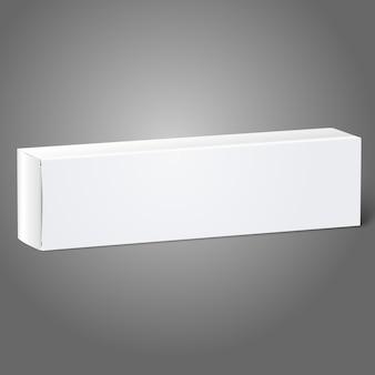 Scatola di cartone bianca realistica per oggetti oblunghi - dentifricio, cosmetici, medicine ecc.