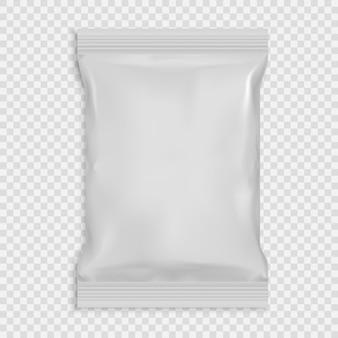 Modello vuoto bianco realistico salviette umidificate con foglio di imballaggio