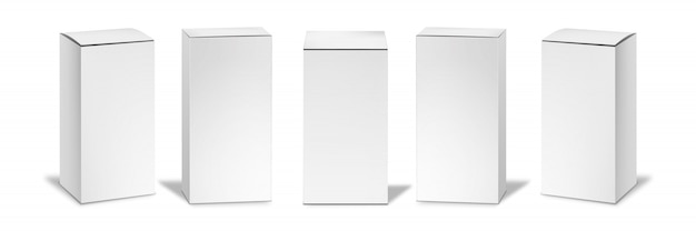 Set di scatole bianche realistiche insieme