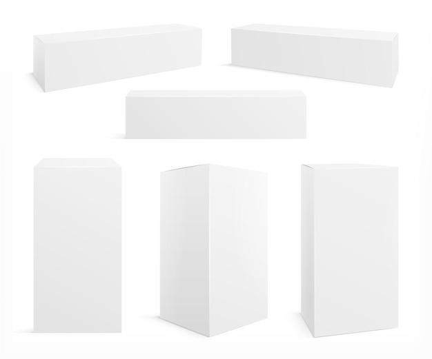 Set di scatole bianche realistiche