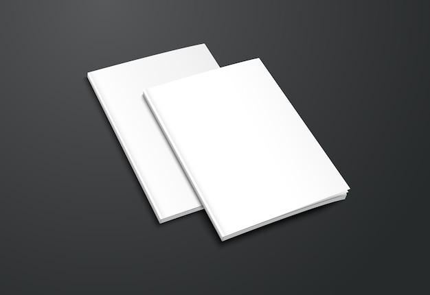 Opuscolo bianco realistico su sfondo nero.