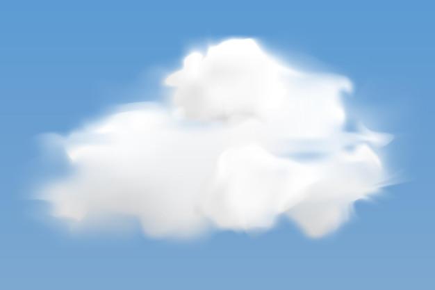 Nuvola bianca realistica che vola sullo sfondo del cielo blu