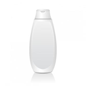 Bottiglie cosmetiche bianche realistiche. tubo o contenitore per crema, unguento, lozione. fiala cosmetica per shampoo. illustrazione.