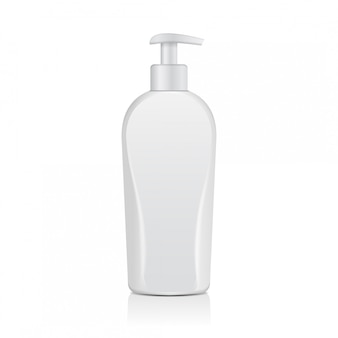 Bottiglie cosmetiche bianche realistiche. tubo o contenitore per crema, unguento, lozione. fiala cosmetica per shampoo, sapone. illustrazione