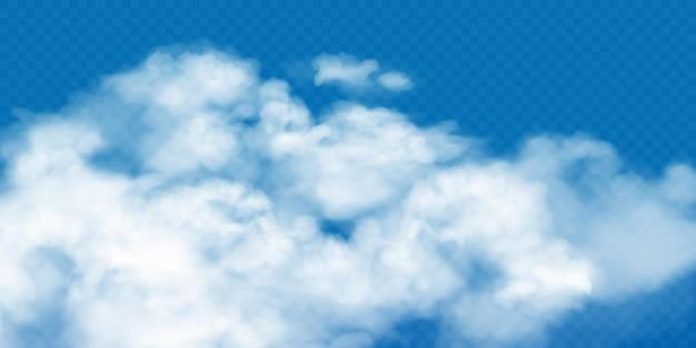 Nubi cumuliformi bianche realistiche su sfondo trasparente.