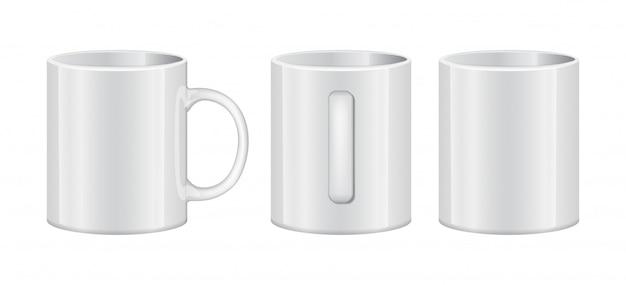 Realistico tazza bianca modello vuoto mockup set diversi punti di vista.