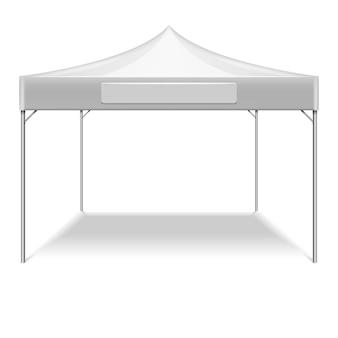 Tenda pieghevole bianca realistica per festa all'aperto in giardino. tenda di mockup di vettore per protezione dal sole