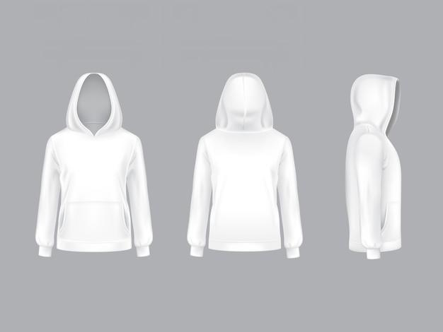 Felpa bianca realistica con maniche lunghe e tasche, modello casual unisex