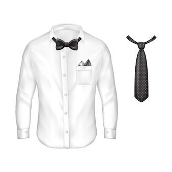Realistico camicia bianca maschile con maniche lunghe, bottoni e gemelli, cravatta a farfalla