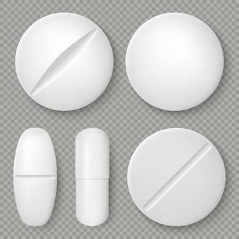 Pillole e compresse bianche realistiche della medicina isolate su fondo trasparente. oggetto di design farmaceutico. modello sanitario.