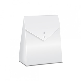 Il modello di cartone bianco realistico porta via la scatola del cibo. modello vuoto del contenitore del prodotto, illustrazione