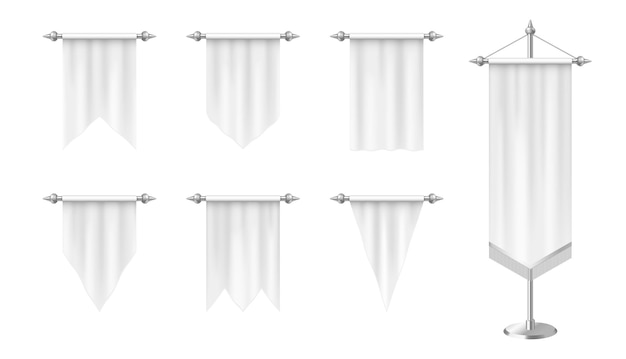 Bandiere verticali realistiche gagliardetti bianchi isolati
