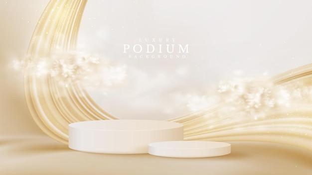 Vetrina realistica del podio del prodotto bianco con nuvola e liquido dorato sul retro. concetto di sfondo di lusso in stile 3d. illustrazione vettoriale per promuovere le vendite e il marketing.