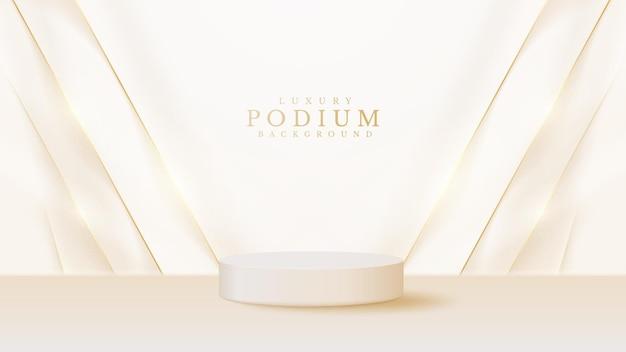 Vetrina realistica del podio del prodotto bianco con linea dorata sul retro. concetto di sfondo di lusso in stile 3d. illustrazione vettoriale per promuovere le vendite e il marketing.