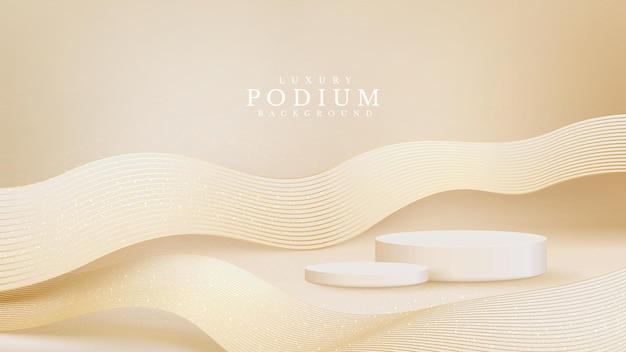 Vetrina realistica del podio del prodotto bianco con linea d'onda dorata sul retro. concetto di sfondo di lusso in stile 3d. illustrazione vettoriale per promuovere le vendite e il marketing.