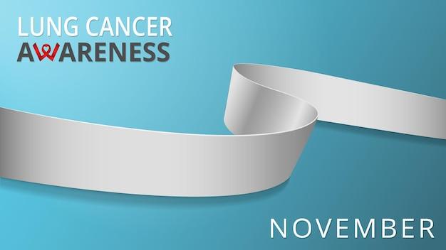 Nastro bianco realistico. poster del mese di sensibilizzazione sul cancro ai polmoni. illustrazione vettoriale. concetto di solidarietà della giornata mondiale del cancro del polmone.