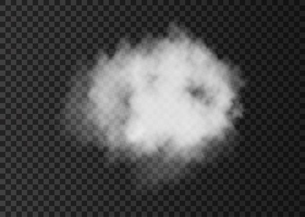 Nuvola di fumo bianca realistica isolata su trasparente