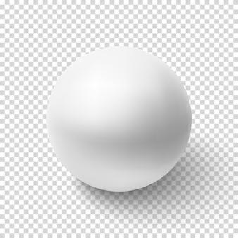 Sfera bianca realistica su sfondo trasparente. illustrazione.