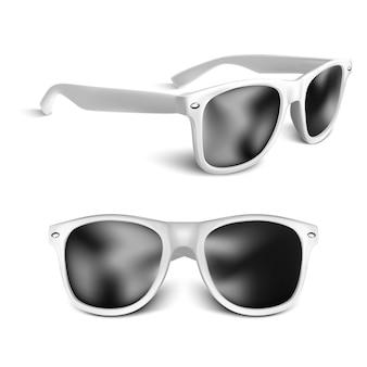 Occhiali da sole bianchi realistici isolati su priorità bassa bianca