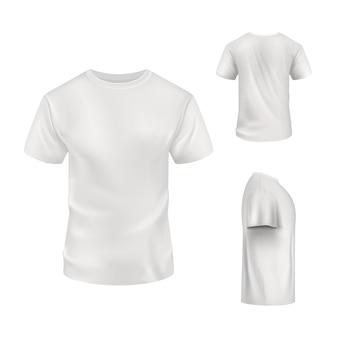 T-shirt bianca realistica impostata su sfondo bianco. modello di vettore. modello di camicia bianca sportiva anteriore, posteriore e laterale, uomo abbigliamento per abbigliamento di moda realistico uniforme per la stampa tessile pubblicitaria.
