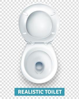 Vista superiore realistica della ciotola della toilette bianca