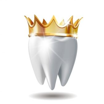 Dente bianco realistico in corona dorata isolata su bianco