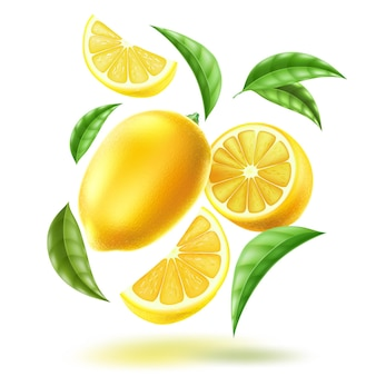 Realistico mezzo limone intero e fette con foglie in movimento vorticoso agrumi