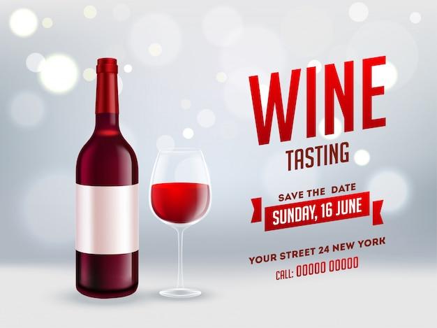 Bottiglia di vino realistico con bicchiere di bevanda sul bokeh grigio brillante sfondo per la progettazione di banner o poster degustazione di vino.